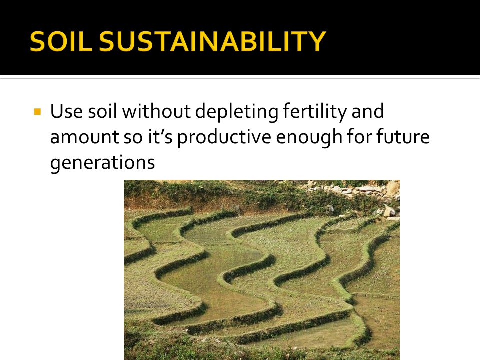 SOIL SUSTAINABILITY Use soil without depleting fertility and amount so it's productive enough for future generations.