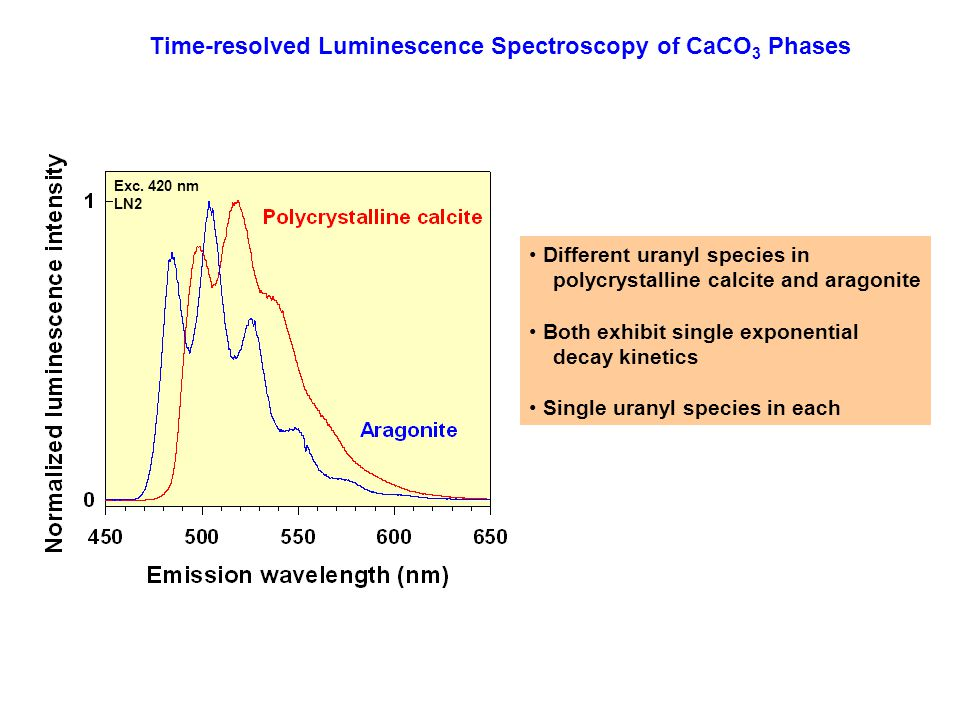 Time-resolved Luminescence Spectroscopy of CaCO3 Phases