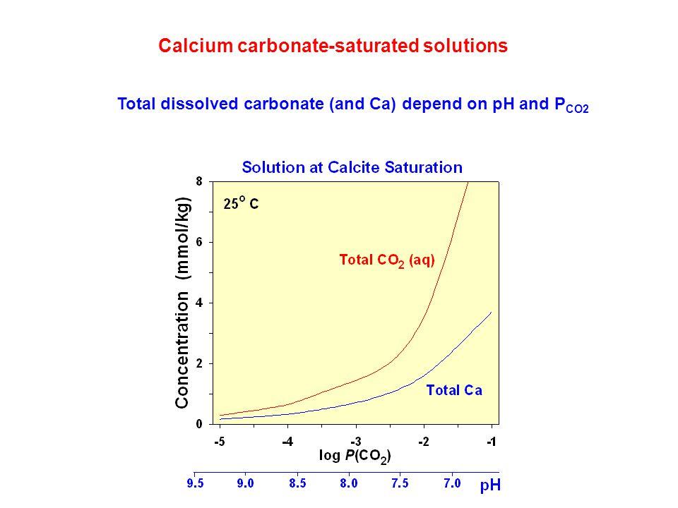 Calcium carbonate-saturated solutions