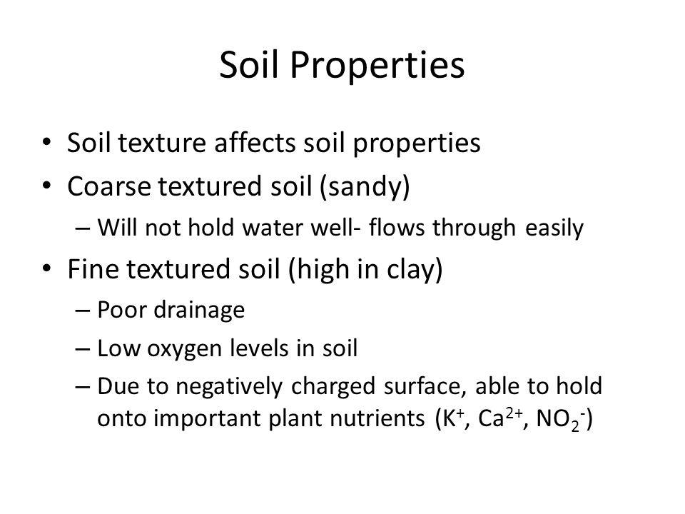Soil Properties Soil texture affects soil properties