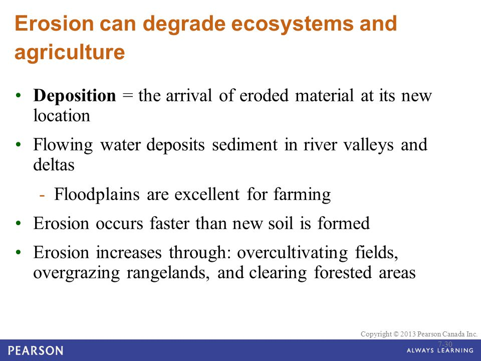 Erosion can degrade ecosystems and agriculture