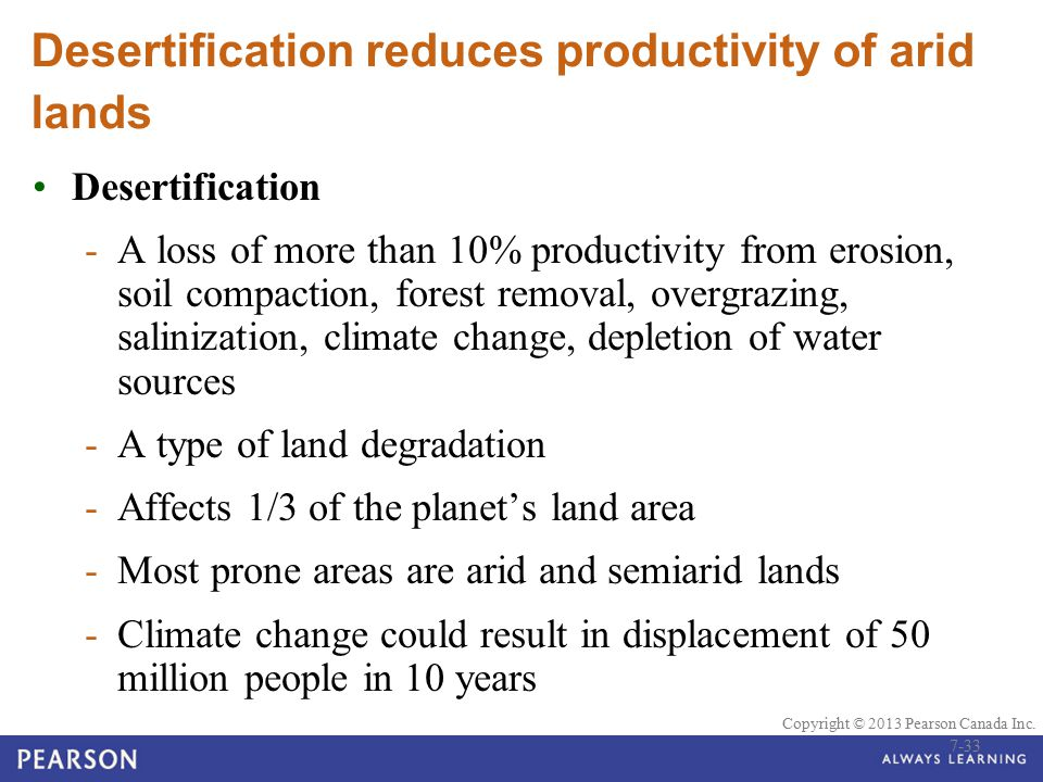 Desertification reduces productivity of arid lands