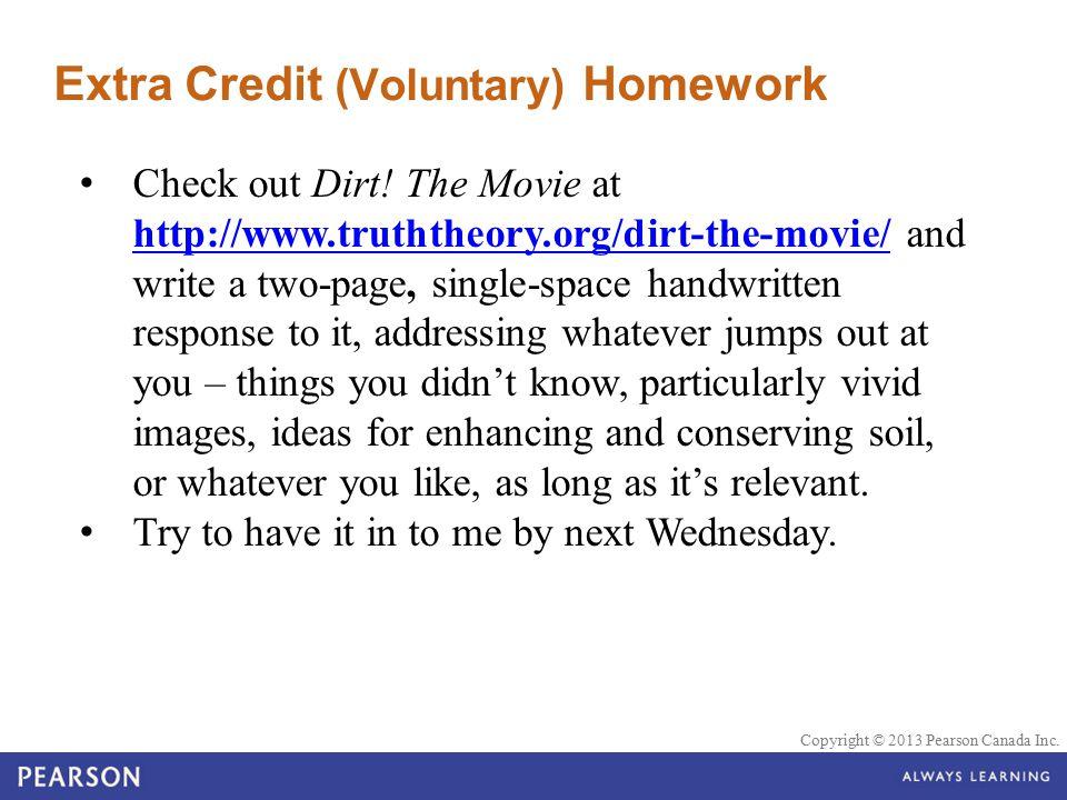 Extra Credit (Voluntary) Homework