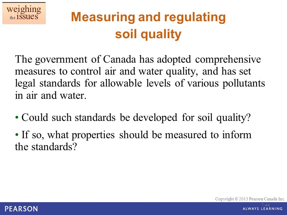 Measuring and regulating soil quality