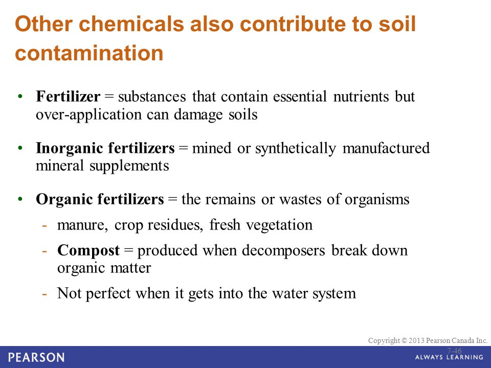 Other chemicals also contribute to soil contamination