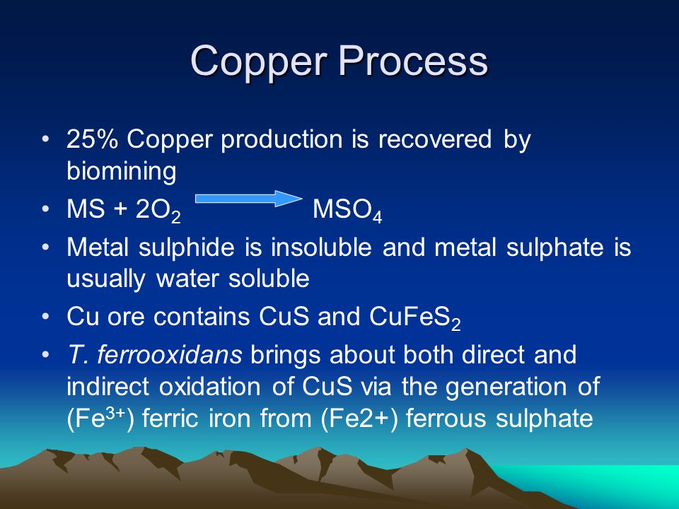 Copper Process 25% Copper production is recovered by biomining