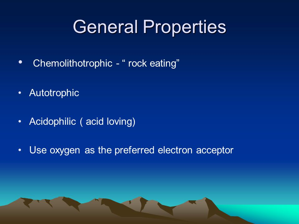 General Properties Chemolithotrophic - rock eating Autotrophic