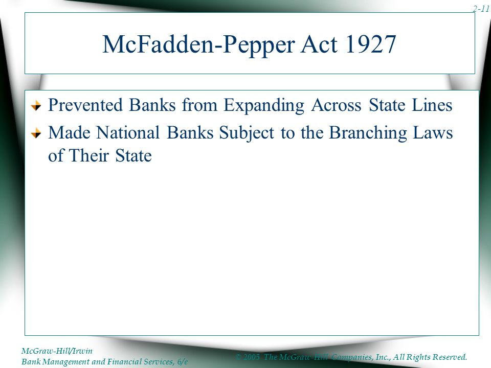 McFadden-Pepper Act 1927 Prevented Banks from Expanding Across State Lines.