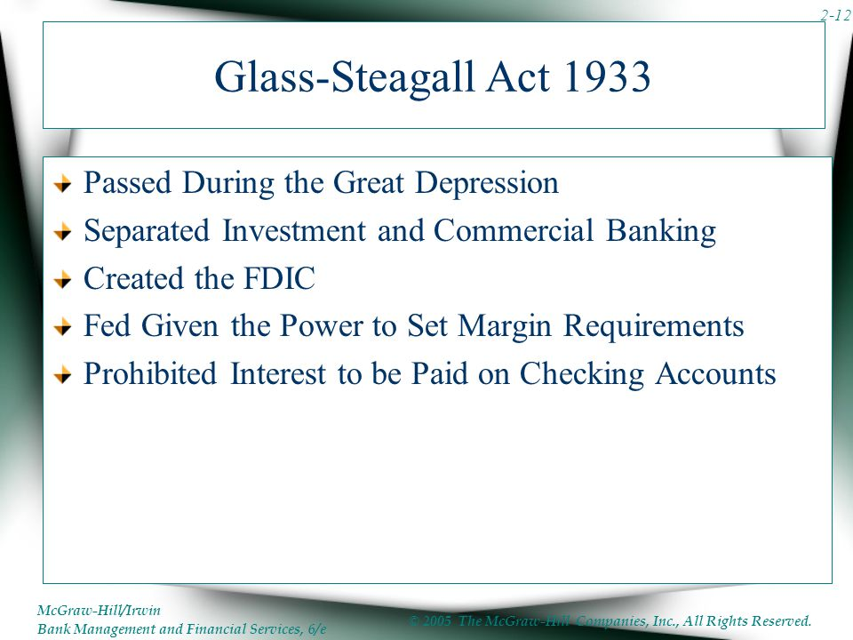 Glass-Steagall Act 1933 Passed During the Great Depression
