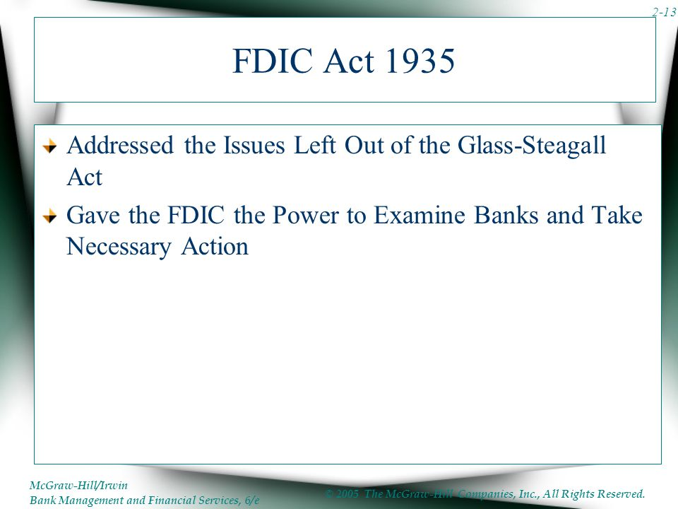 FDIC Act 1935 Addressed the Issues Left Out of the Glass-Steagall Act