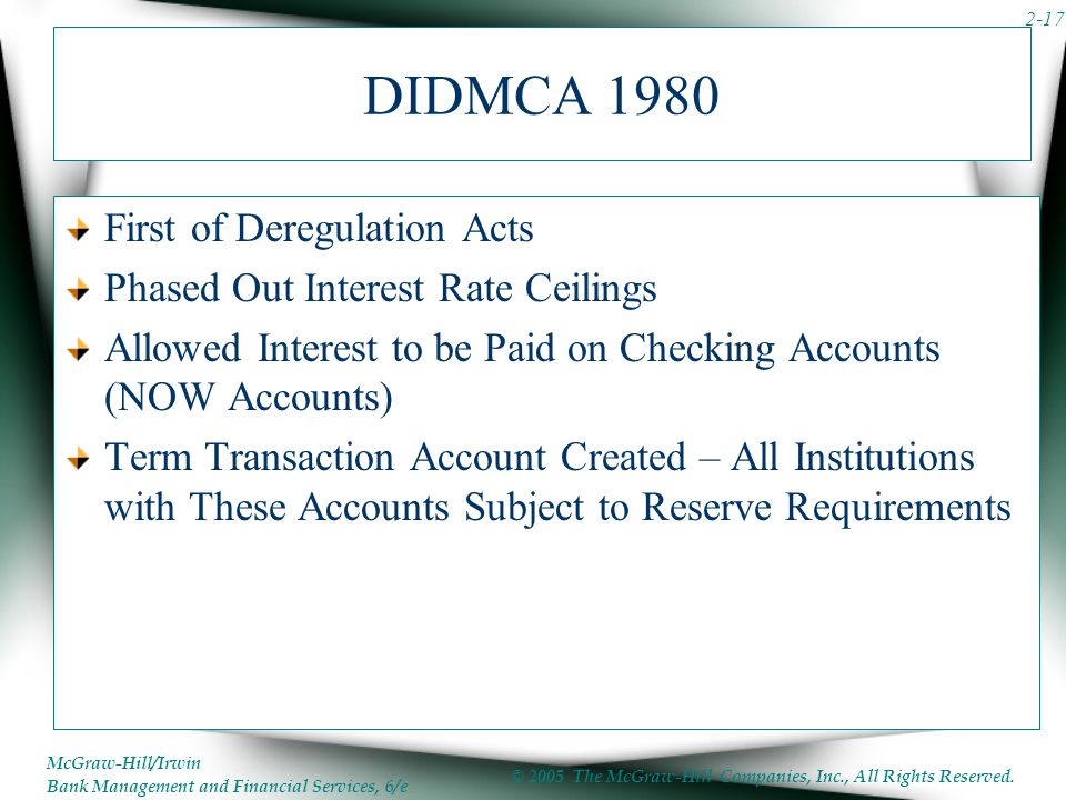DIDMCA 1980 First of Deregulation Acts