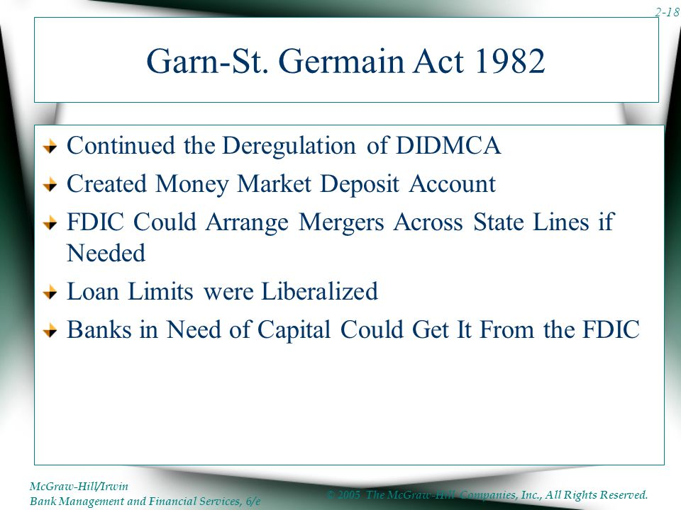 didmca and fslic The depository institutions deregulation and monetary control act of 1980 (didmca) and the gam-st germain depository institutions act of 1982 significantly loosened restrictions on the portfolio investments of federally chartered thrift institutions.