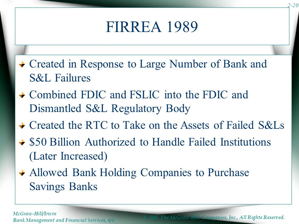 FIRREA 1989 Created in Response to Large Number of Bank and S&L Failures. Combined FDIC and FSLIC into the FDIC and Dismantled S&L Regulatory Body.