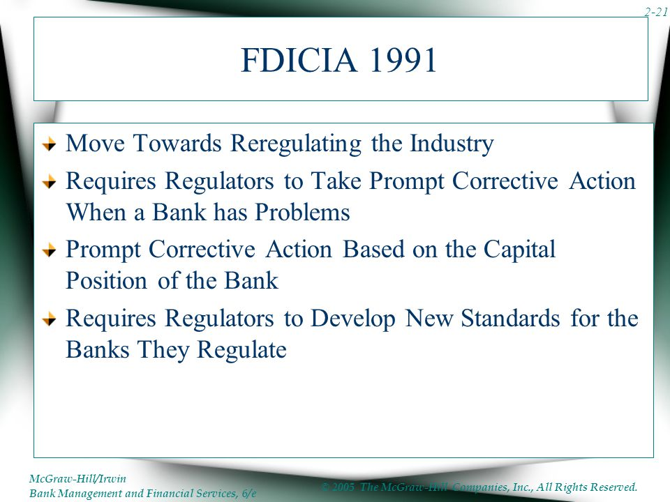FDICIA 1991 Move Towards Reregulating the Industry