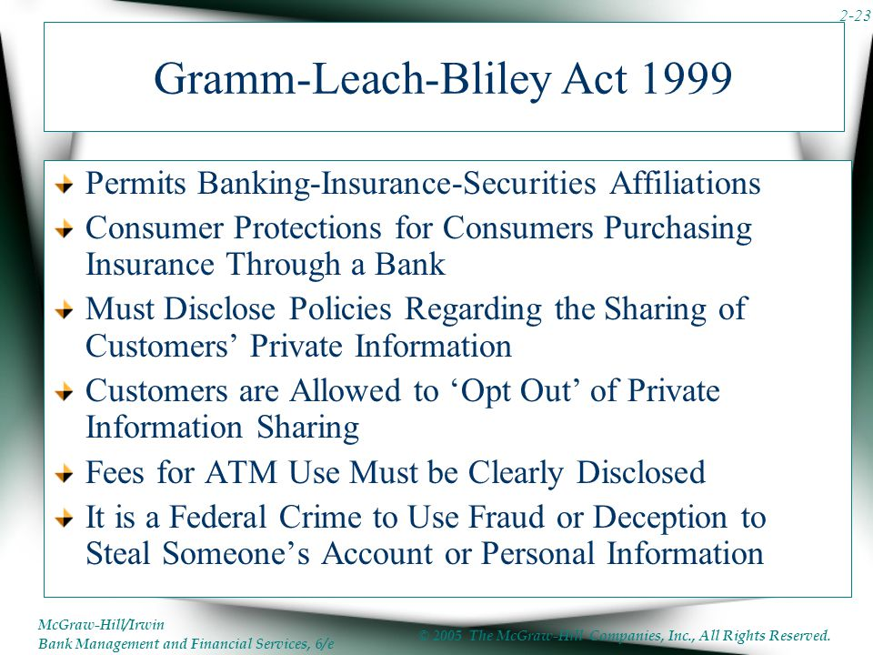 Gramm-Leach-Bliley Act 1999