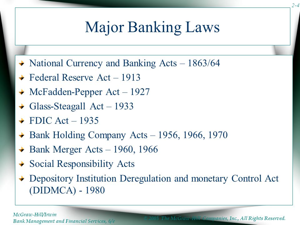 Major Banking Laws National Currency and Banking Acts – 1863/64