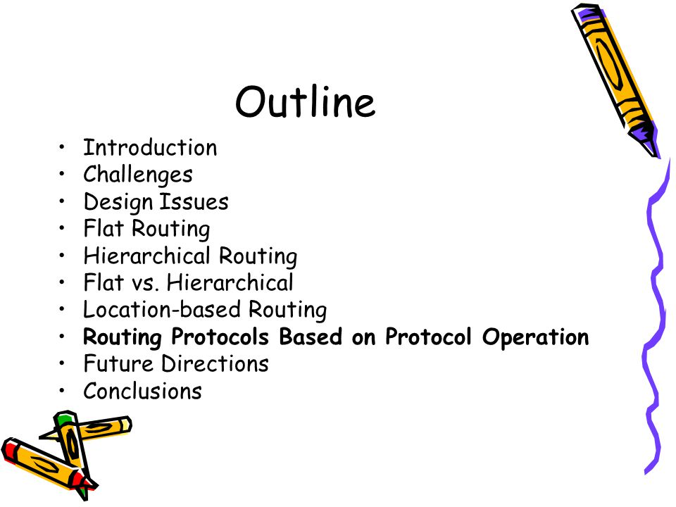 Outline Introduction Challenges Design Issues Flat Routing