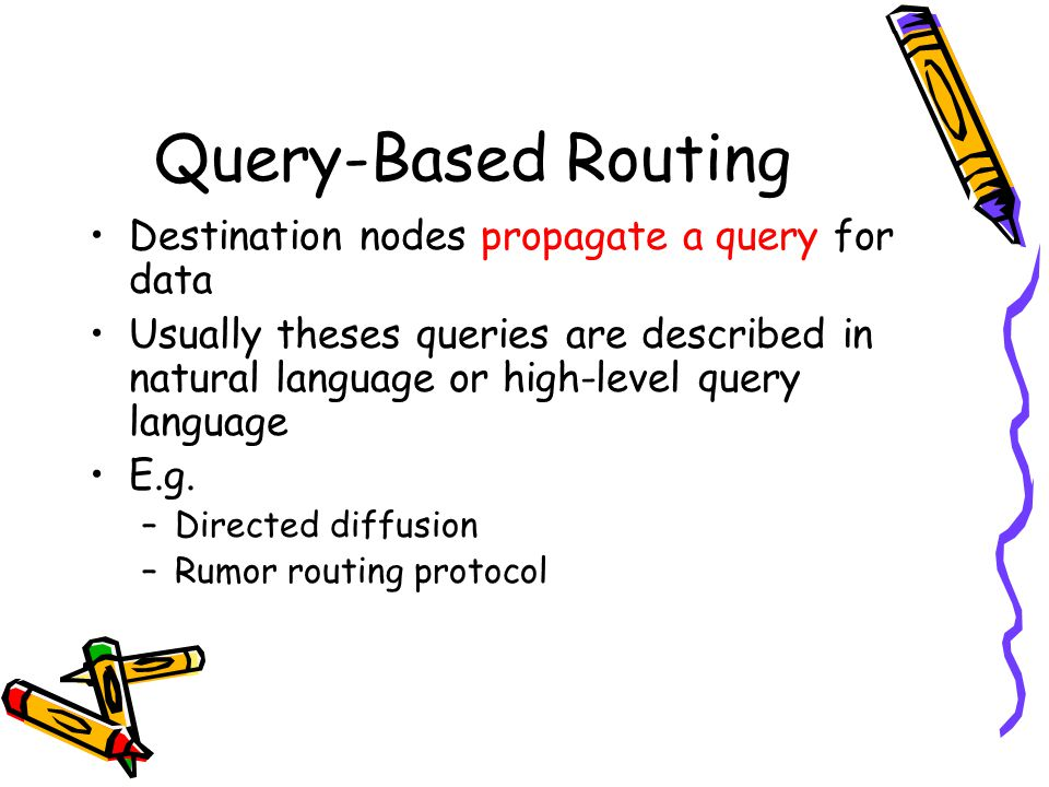 Query-Based Routing Destination nodes propagate a query for data