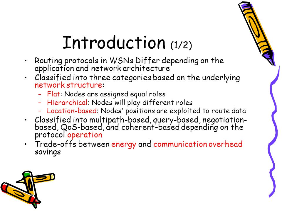 Introduction (1/2) Routing protocols in WSNs Differ depending on the application and network architecture.