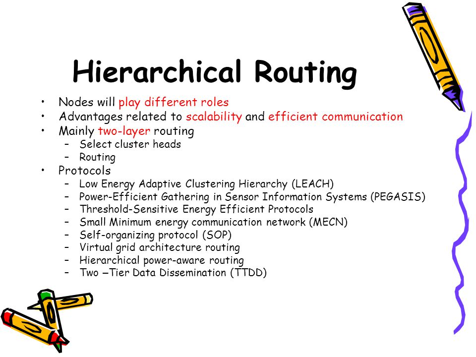Hierarchical Routing Nodes will play different roles