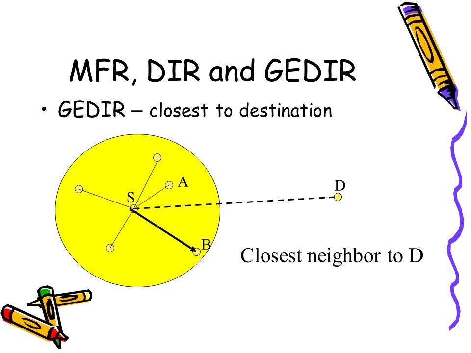 MFR, DIR and GEDIR GEDIR – closest to destination