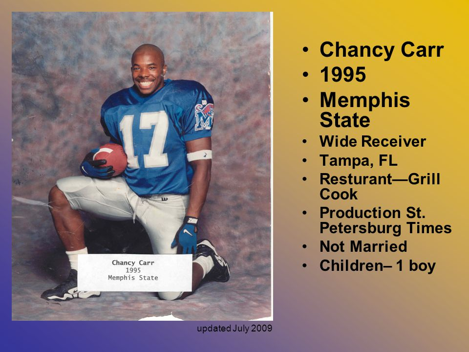 Chancy Carr 1995 Memphis State Wide Receiver Tampa, FL