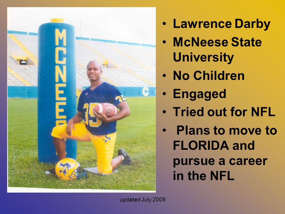 McNeese State University No Children Engaged Tried out for NFL
