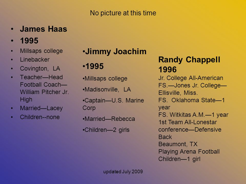 James Haas 1995 Jimmy Joachim 1995 Randy Chappell 1996