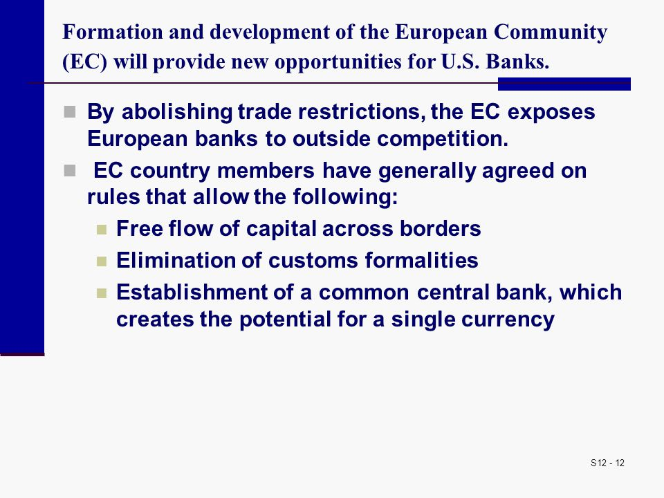 Formation and development of the European Community (EC) will provide new opportunities for U.S. Banks.