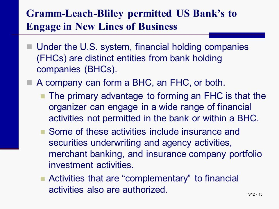 Gramm-Leach-Bliley permitted US Bank's to Engage in New Lines of Business