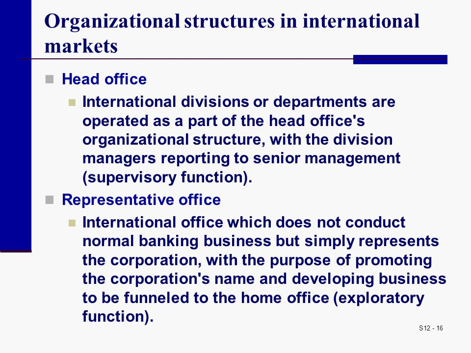 Organizational structures in international markets