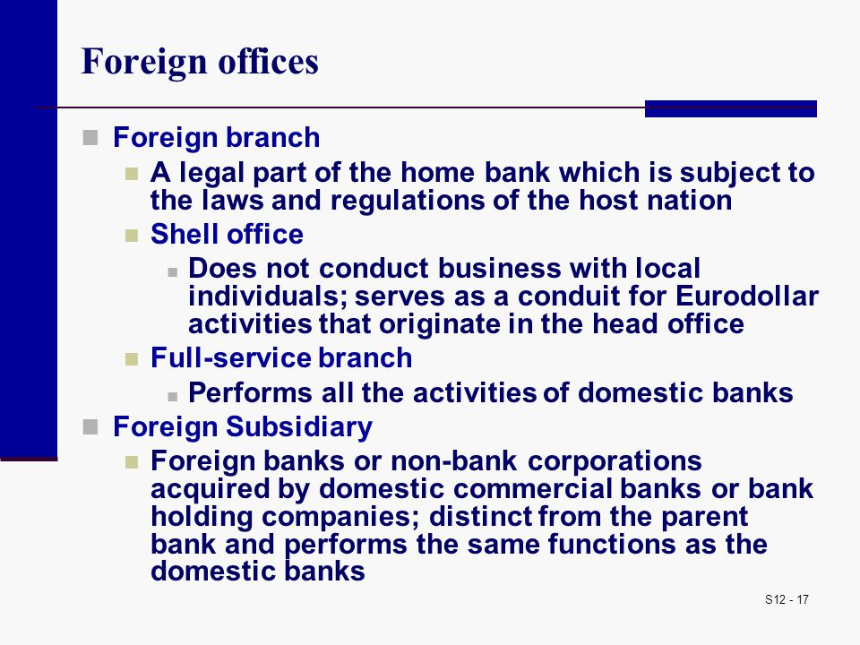 Foreign offices Foreign branch