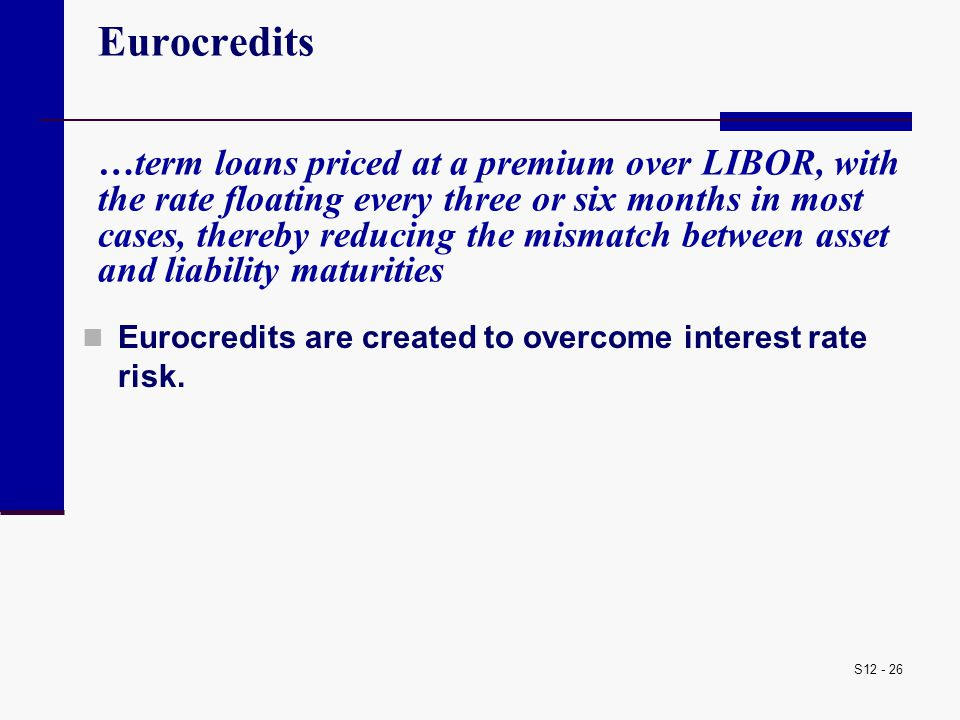 Eurocredits …term loans priced at a premium over LIBOR, with the rate floating every three or six months in most cases, thereby reducing the mismatch between asset and liability maturities