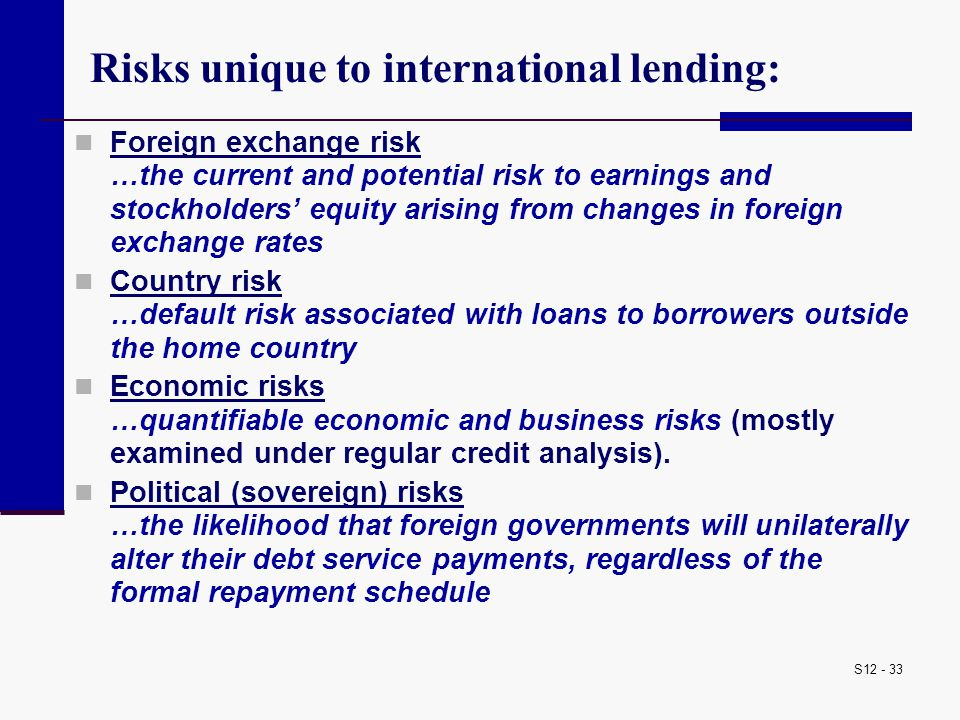 Risks unique to international lending: