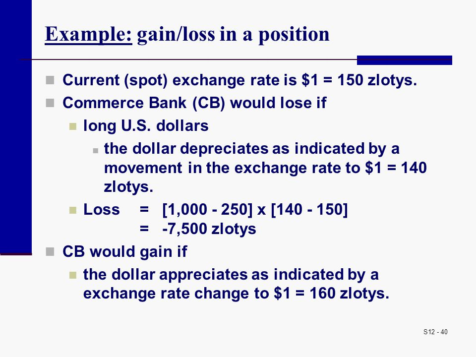 Example: gain/loss in a position