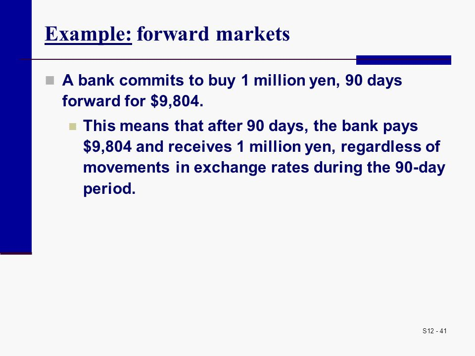 Example: forward markets