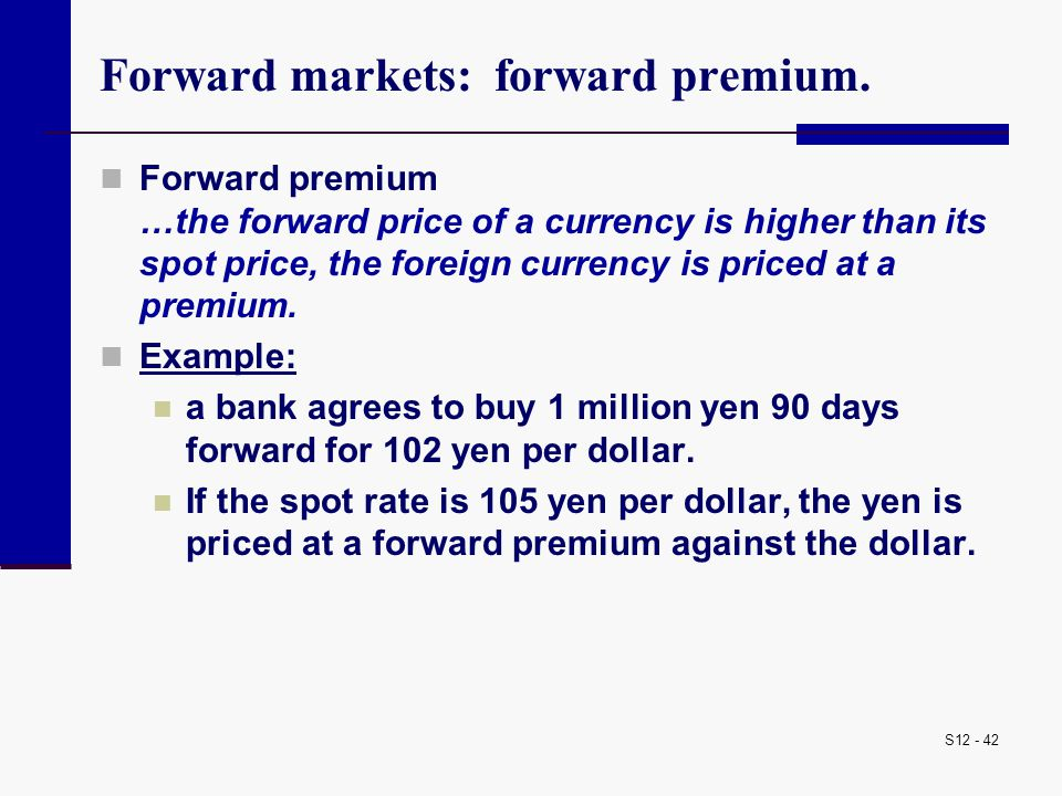 Forward markets: forward premium.
