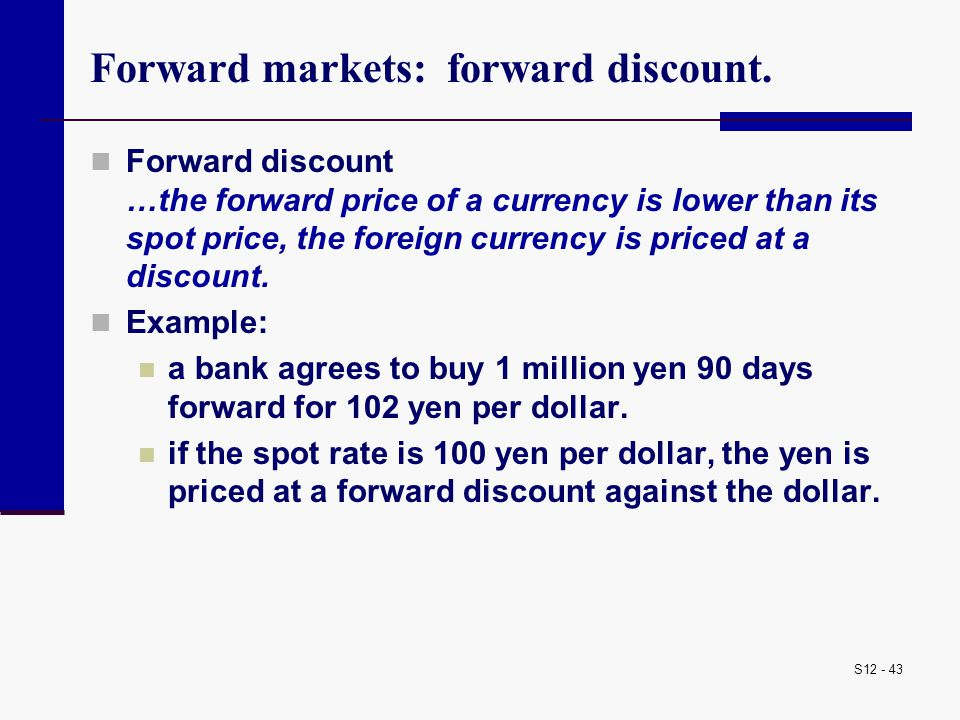 Forward markets: forward discount.