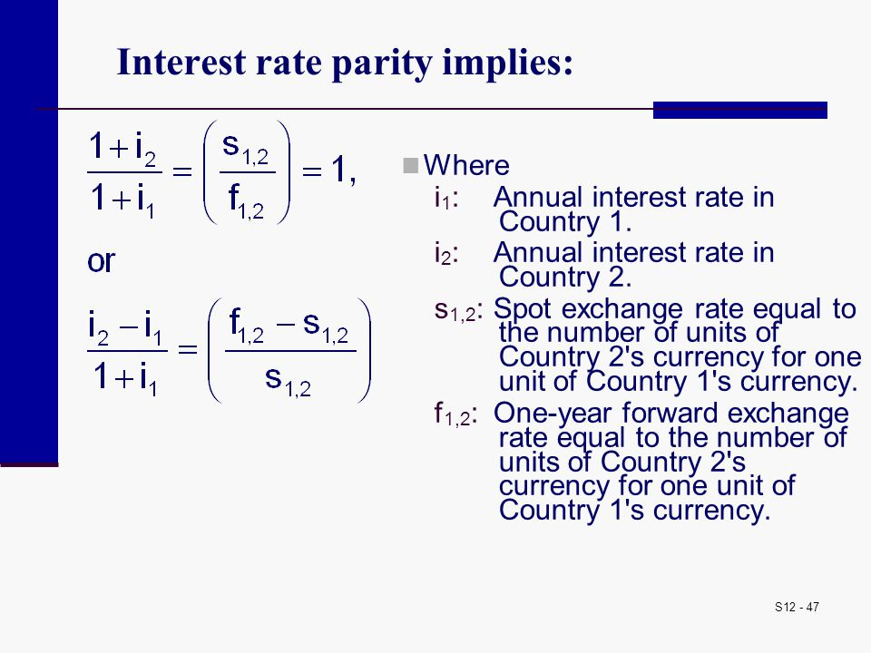 Interest rate parity implies: