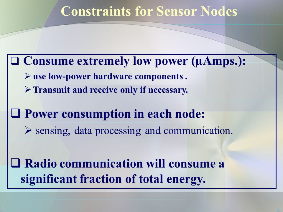 Constraints for Sensor Nodes