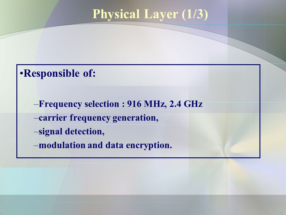 Physical Layer (1/3) Responsible of: