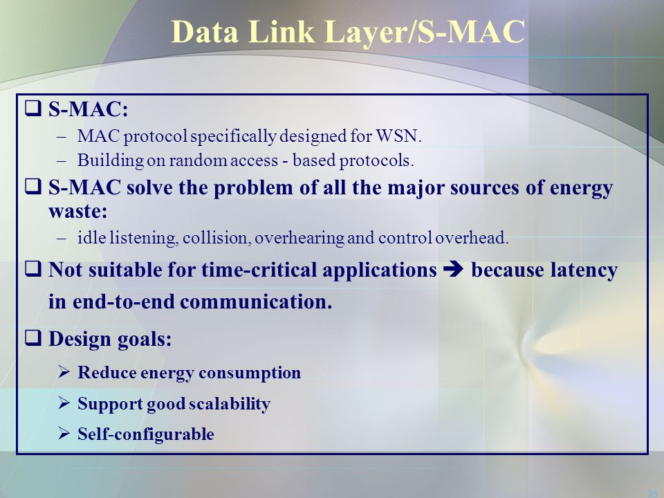Data Link Layer/S-MAC S-MAC: