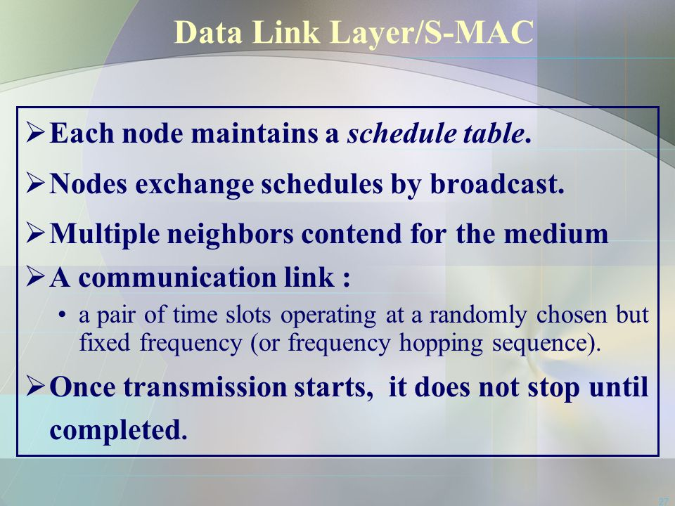 Data Link Layer/S-MAC Each node maintains a schedule table.