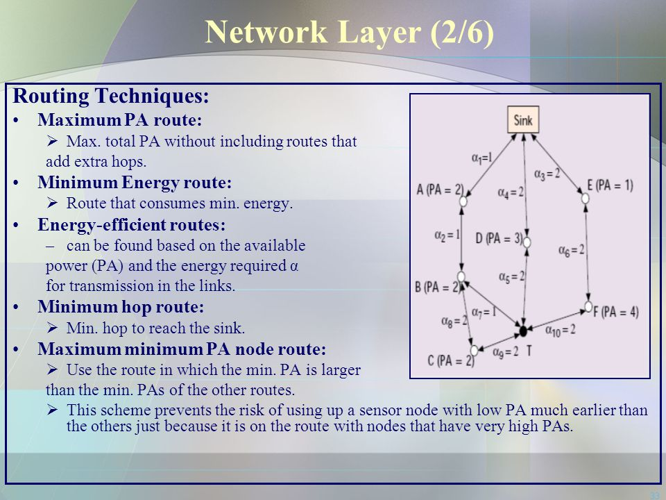 Network Layer (2/6) Routing Techniques: Maximum PA route: