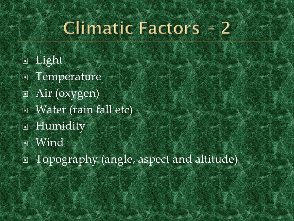 Climatic Factors – 2 Light Temperature Air (oxygen)