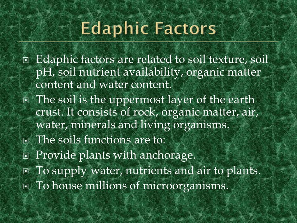 Edaphic Factors Edaphic factors are related to soil texture, soil pH, soil nutrient availability, organic matter content and water content.
