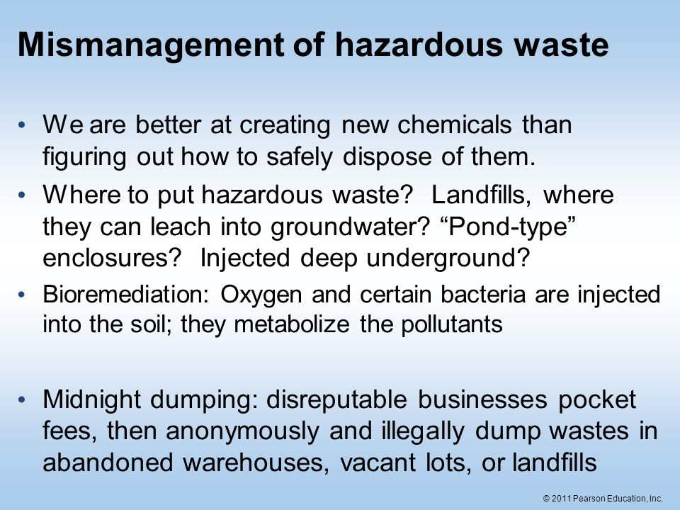 Mismanagement of hazardous waste