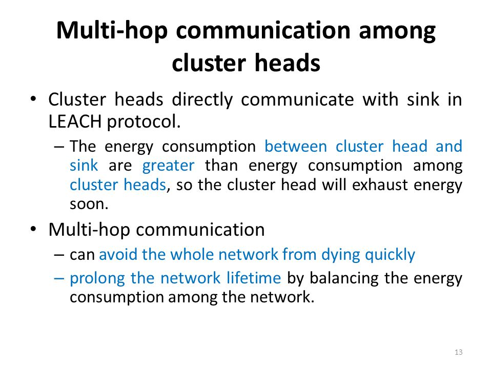 Multi-hop communication among cluster heads