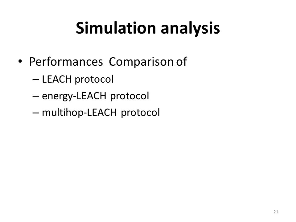 Simulation analysis Performances Comparison of LEACH protocol
