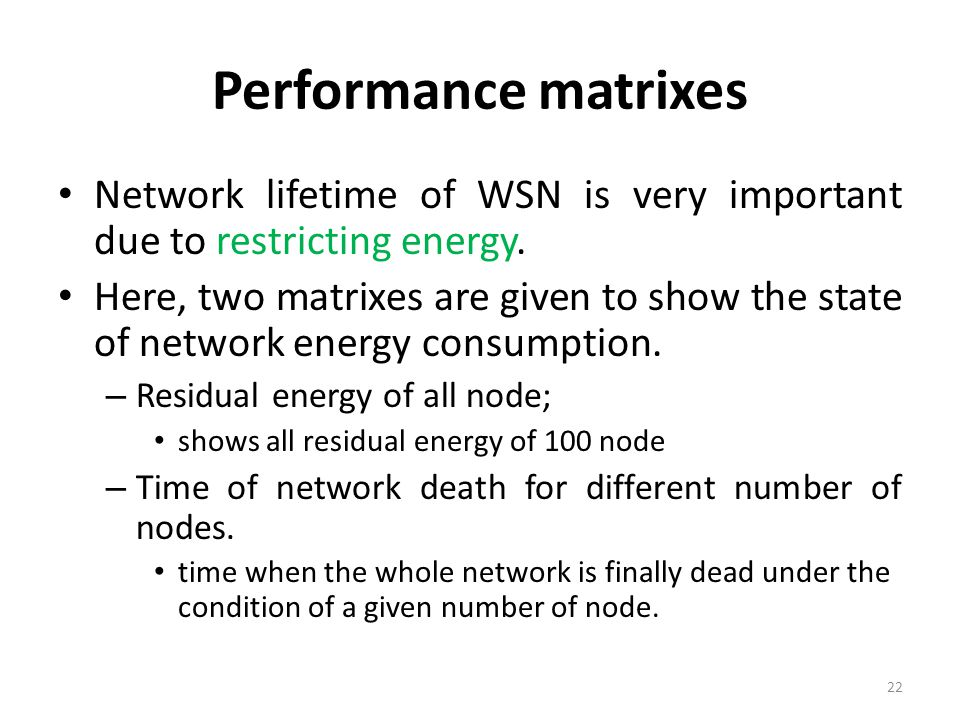 Performance matrixes Network lifetime of WSN is very important due to restricting energy.